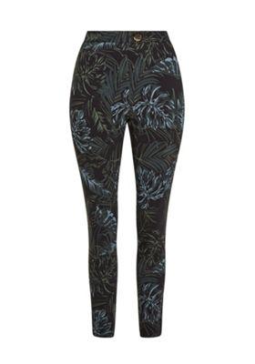 F&F Leaf Print Bengaline Skinny Trousers Multi 6