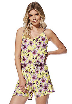 JDY Floral Print Strappy Playsuit - Yellow/Multi