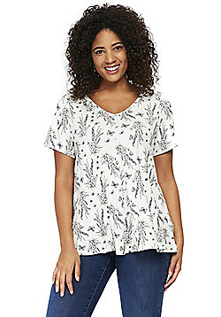 Evans Floral and Butterfly Print Plus Size Top - White/Multi
