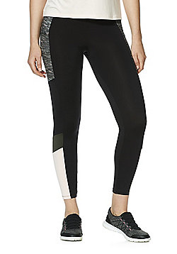 F&F Active Space-Dye Panel Cropped Leggings - Black