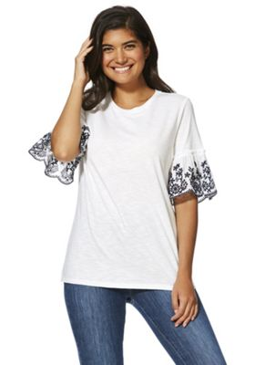 F&F Embroidered Bell Sleeve T-Shirt White 6