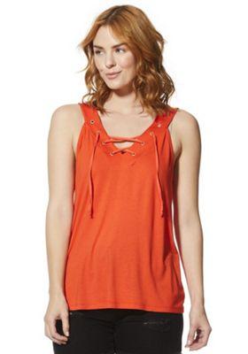 F&F Eyelet Lace-Up Vest Top Orange 18