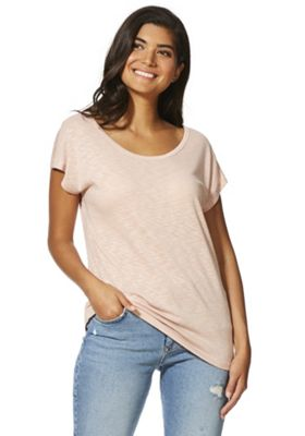 F&F Metallic Shoulder Cut-Out Back Top Blush Pink 14