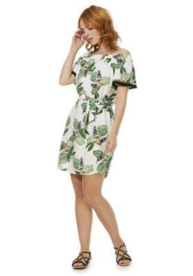 F&F Tropical Tie Waist Bardot Dress Multi 8