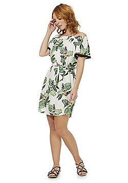 F&F Tropical Tie Waist Bardot Dress - Multi