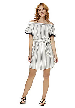 F&F Striped Tie Waist Bardot Dress - Cream/Navy