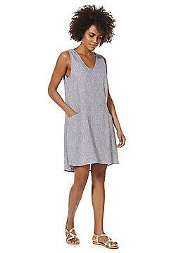 F&F Linen-Blend Chambray Tunic Dress - Blue
