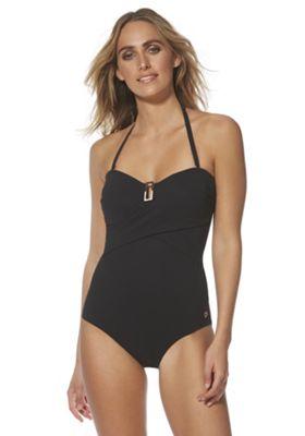 F&F Luxury Swimwear Rectangle Trim Bandeau Swimsuit Black 8