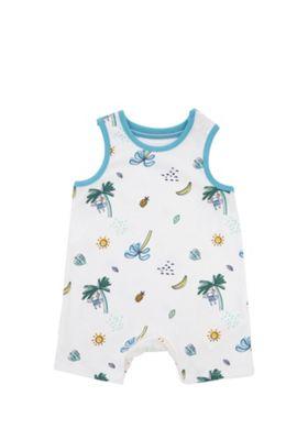 F&f Tropical Print Romper Multi Newborn